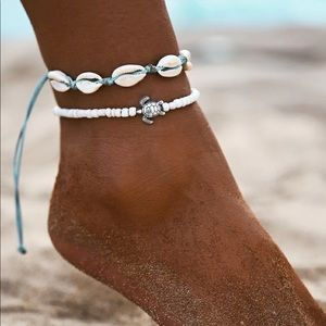 NEW 2 piece Adjustable Shell Turtle Ankle Bracelet